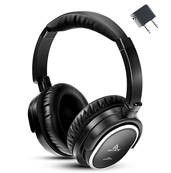 Artiste ANC100 Active Noise Cancelling Headphones with Airplane Adapter
