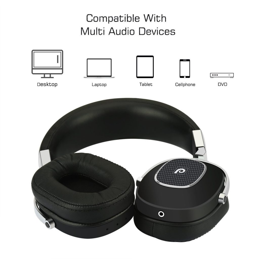 Paikeshi Stainless Steel Wired Headphones Over the Ear HiFi Headset Earphones Noise Canceling Headphones