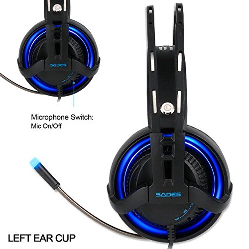 SADES R2 Virtual 7.1 Channel Surround Sound headphones with Retractable Mic USB PC Gaming Headset