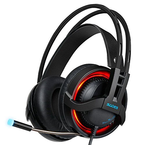 SADES R2 Virtual 7.1 Channel Surround Sound headphones with Retractable Mic USB PC Gaming Headset Stereo