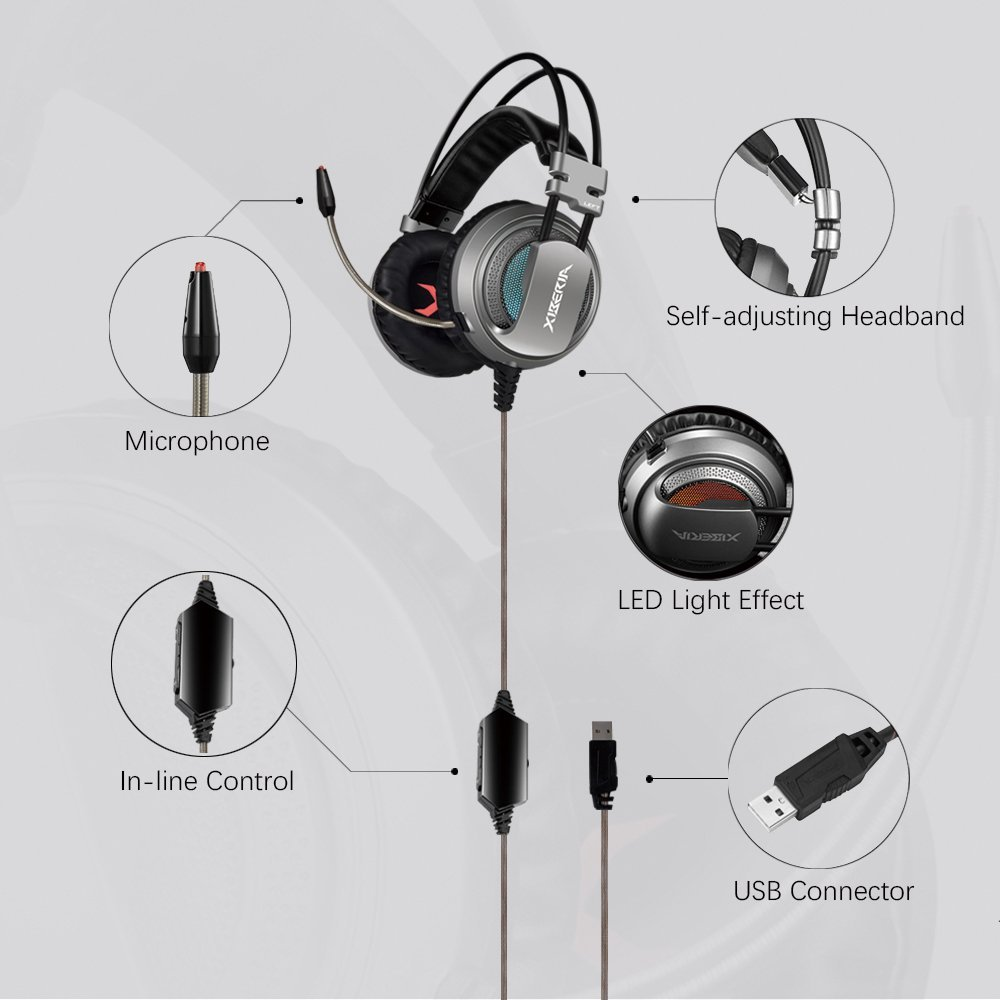 XIBERIA USB Headset with Microphone Surround Stereo Wired PC Gaming Headset Over Ear Headphone